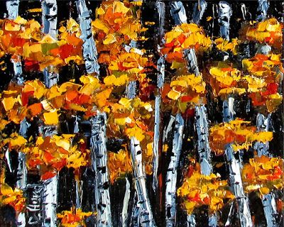 "Aspens Painting Fall art Autumn Paintings Trees ""Fall Aspens""byTexas Artist Debra Hurd"