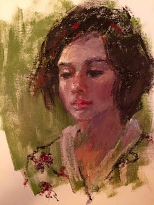 Mary - original oil pastel portrait painting