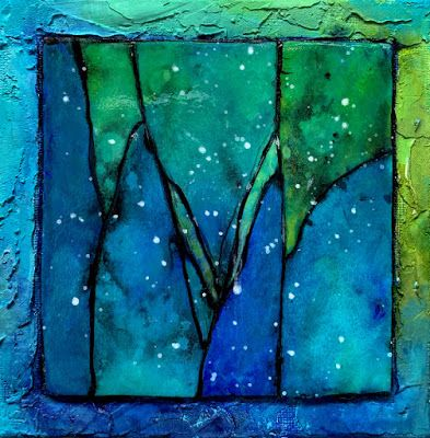 "Mixed Media Abstract Painting, ""Gemstone 30 by Carol Nelson Fine A"