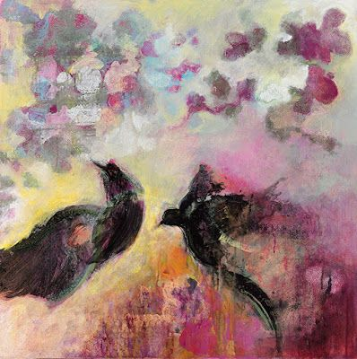 """Bird Painting,Contemporary Art, Abstract Painting,""""TRANSIENCE"""" by Contemporary Artist Liz Thoresen"""