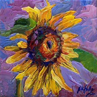 New Palette Knife Cheerful Sunflower Painting by Niki Gulley