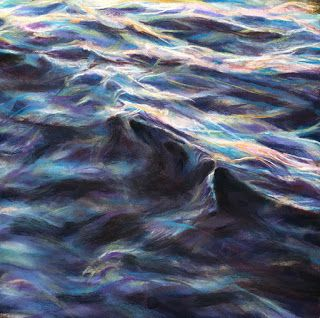 "A GENTLE ROLL - 12"" x 12"" pastel seascape by Susan Roden"