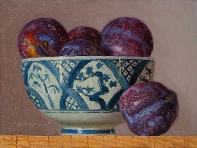 Plums in a oriental bowl, still life oil painting original a painting a day