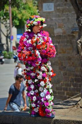 Woman Covered With Flowers at Barcelona Cathedral