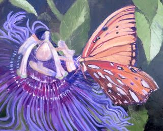 Pollen Seeker-Passion Butterfly, New Contemporary Floral Painting by Sheri Jones