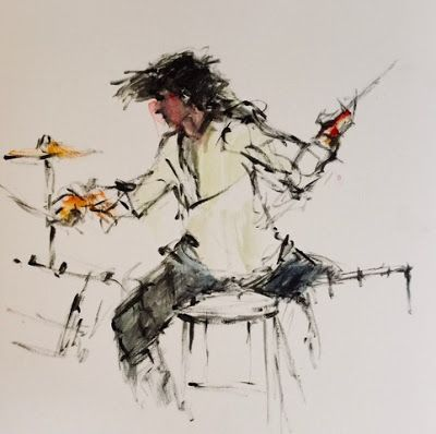 Another Crazy Drummer - original acrylic figurative drawing