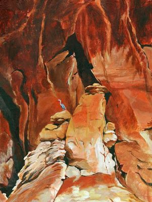 "Original Heron, Red Rocks Landscape Painting ""Red Rocks;Blue Heron"" by Nancee Jean Busse, Painter of the American West"
