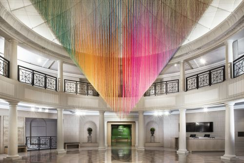 Vibrant Gradients of Suspended Yarn Reflect HOTTEA'S Personal Memories