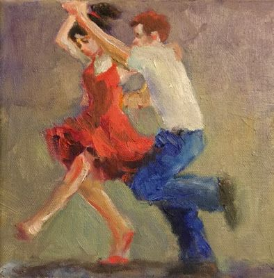 Jiver Twirl - original figurative painting of dancers