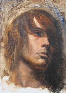 Portrait of a young man 5×7 oil painting
