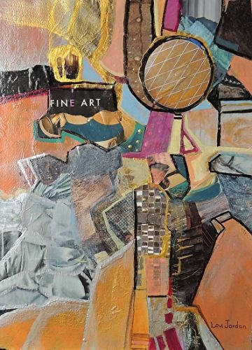 "Contemporary Abstract Art Painting, Mixed Media Collage ""Fine Art"" by New Orleans Artist Lou Jordan"
