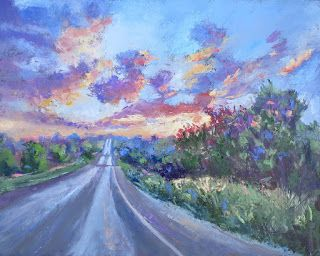 Road to A New Day, New Contemporary Sunrise Landscape Painting by Sheri Jones