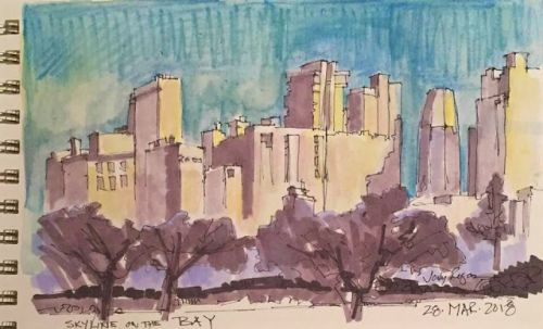 """Day 174 """"Skyline by the Bay"""" 5 x 9 mixed"""