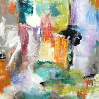 "Abstract Art, Expressionism, Contemporary Painting ""First Snow"" by Oklahoma Artist Nancy Junkin"