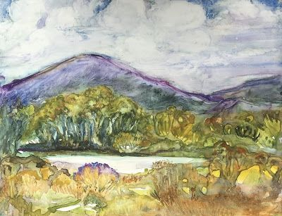 "Contemporary Mountain Landscape, Pond, Original Watercolor Painting ""RAPPAHANOCK POND"" by Contemporary Artist Lou Jordan"
