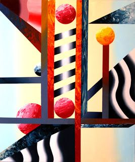 Mark Webster - Abstract Planet Factory Oil and Acrylic Painting