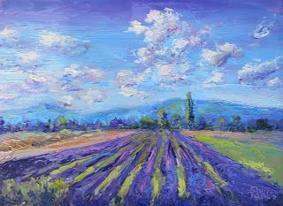 Lavender in Bloom, New Contemporary Landscape Painting by Sheri Jones