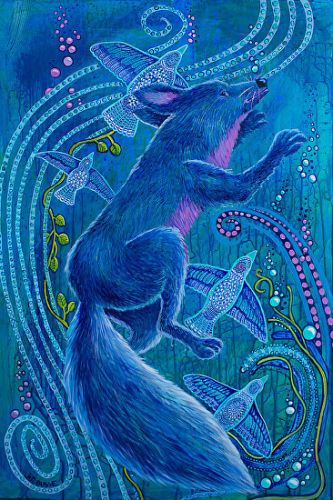 """Native American Folklore Art,Colorful Contemporary Wildlife Art Painting , Native American Art,""""WHEN COYOTE WAS BLUE"""