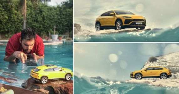 Faking an Oceanside Photo Shoot with a Swimming Pool and a Toy SUV