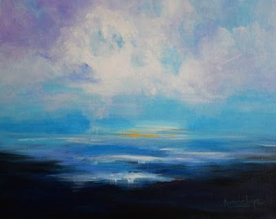 """Contemporary Abstract Seascape Painting """"Clear Skies"""" by International Contemporary Seascape Artist Arrachme"""