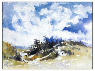 Skyscape 6..Watercolor.Texas Artist.Rae Andrews