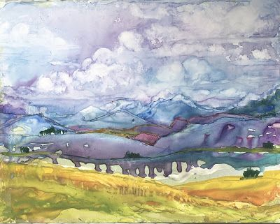 "Colorado Landscape, Original Watercolor Painting ""SUMMER IN COLORADO"" by Contemporary Artist Lou Jordan"