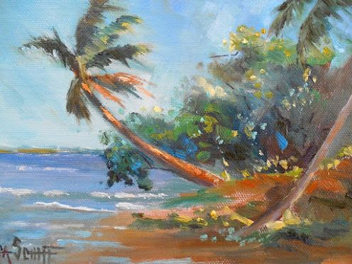 Tropical Landscape Painting, Coastal Wall Decor, Palm Trees on the Shoreline, Tropical Giclee Print On Canvas