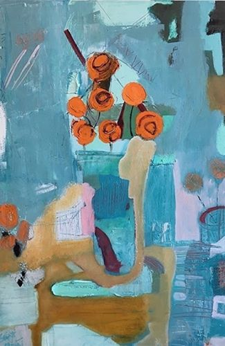 "Abstract Still Life, Contemporary Art, Abstract,Expressionism, Studio 9 Fine Art ""Viennese Dream"" by International Abstract Artist Amanda Saint Claire"