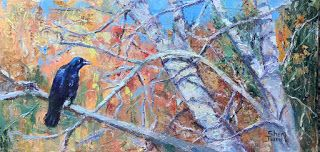 Contemporary Impressionistic Autumn Landscape Palette Knife Original Oil Painting by Sheri Jones