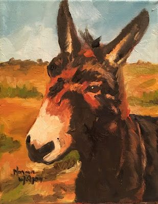 Norma Wilson Original Oil Donkey Mule Equine Animal Portrait Painting Art