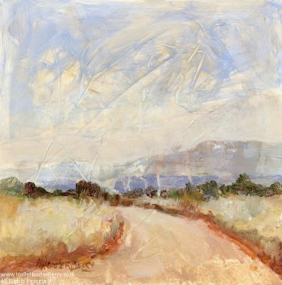 "Contemporary Landscape Painting, Small Paintings, Mixed Media, Trees, Fine Art For Sale, ""Open Road"" By Passionate Purposeful Painter Holly Hunter Berry"