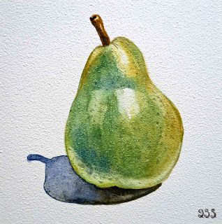 Watercolor Painting of A Pear