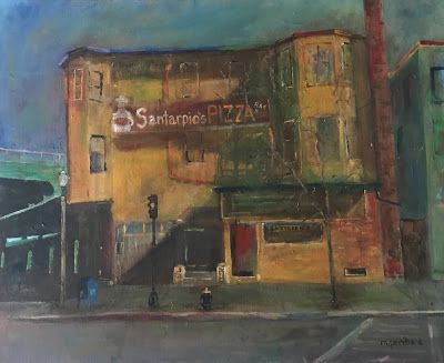 """East Boston Pizza"" Acrylic. Canvas. 24""x20"""