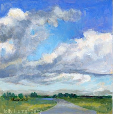 "Small Paintings, Colorful Contemporary Landscape Painting, Texas Sky, Daily Painter, ""Blue Sky"" by Passionate Purposeful Painter Holly Hunter Berry"