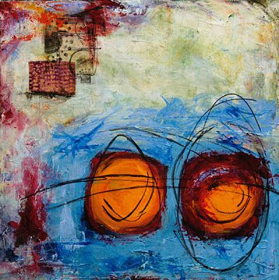 "Mixed Media Abstract Contemporary Art Painting ""SPARK OF INSPIRATION"" by Santa Fe Contemporary Artist Sandra Duran Wilson"