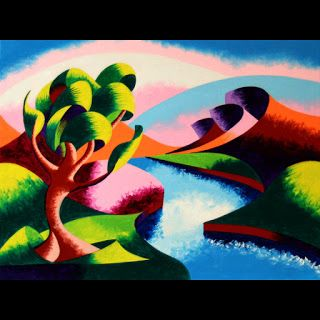 Mark Webster - Abstract Geometric River Landscape Oil Painting