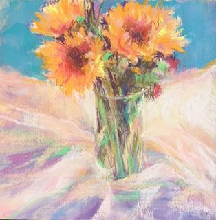 "FLORALS ON WOOD - 10"" x 10"" pastel on wood panel by Susan Roden"