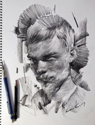 Swirling Lines and Swaths of Charcoal Form Dramatic Portraits by Lee.K