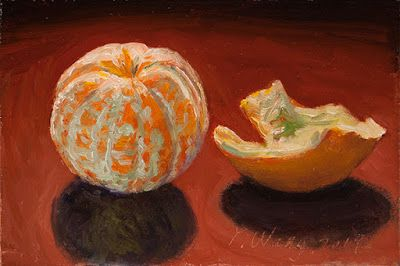 Peeled orange fruit still life oil painting daily painting a day original