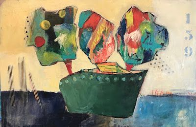 """Contemporary Art, Abstract Painting, Green Boat, Family """"GOING OUT TO SEA-MY SISTER, BROTHER AND ME"""