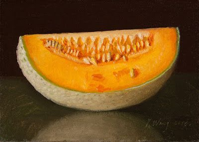 A slice of cantaloupe melon, small daily painting a day original still life fruit food painting