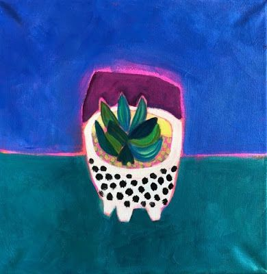 "Contemporary Expressionist Still Life Art,Bold Expressive Painting ""Sweet Plant"" by Santa Fe Artist Annie O'Brien Gonzales"