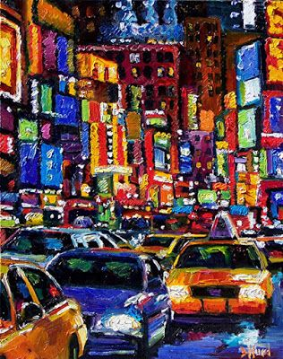 "Cityscape New York City ""Times Square-1-New York City"" Abstract Urban Paintings Fine Art Painting ""Times Square"" by Debra Hurd"