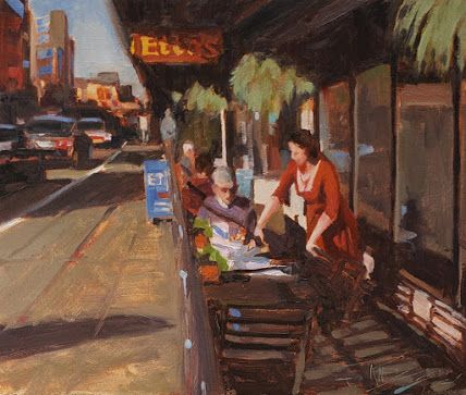"""Ettas"" Seattle city oil painting by Robin Weiss"