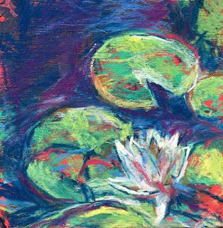 "ONE LILY - 4 1/2"" x 4 1/2"" pastel by Susan Roden"
