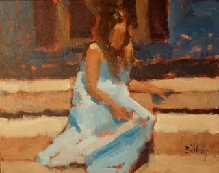 Young Lady on Steps 8x10 acrylic on canvas