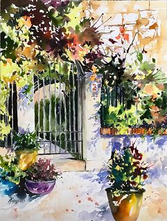Spanish Portal..Watercolor.Texas Artist..Rae Andrews