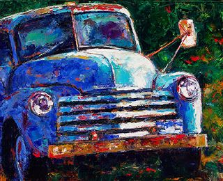 "Old Truck Painting,Vintage Truck Art,""Old Chevy Truck"" by Texas Artist Debra Hurd"