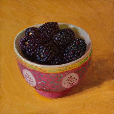 Blackberries in a bowl, still life food painting daily painting fruit small original a painting a day