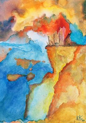 "Abstract Landscape, Watercolor ""Planet Hot and Cold"" by Kit Hedman"
